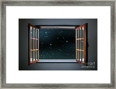Starry Window Framed Print by Carlos Caetano