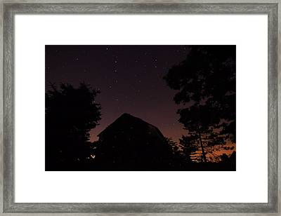 Stars And Lightning Bugs On The Farm Framed Print by Dan Sproul