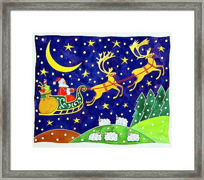 Stars And Snowfall Framed Print by Cathy Baxter
