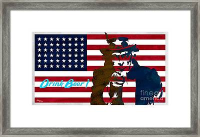 Stars And Stripes  - Drink Beer Framed Print by T Lang