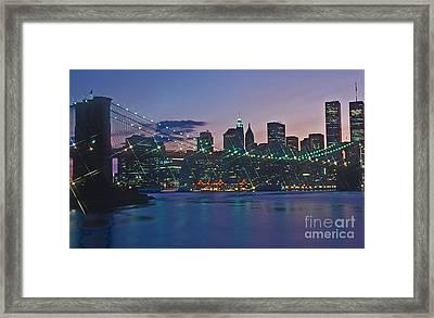Stars Brooklyn Bridge Framed Print by Bruce Bain