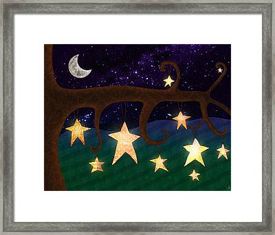 Stars In Trees At Night Framed Print by Cat Whipple