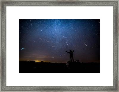 Stars  Meteors And Standing On Cars Framed Print