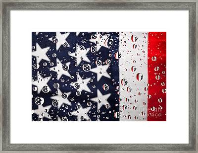 Stars Stripes And Water Drops Framed Print by Sharon Dominick