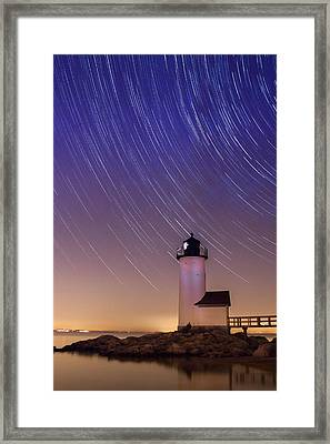 Stars Trailing Over Lighthouse Framed Print