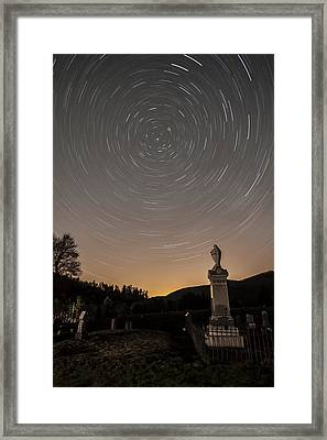 Stars Trails Over Cemetery Framed Print by Susan Candelario