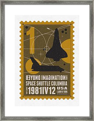 Starschips 01-poststamp - Spaceshuttle Framed Print by Chungkong Art