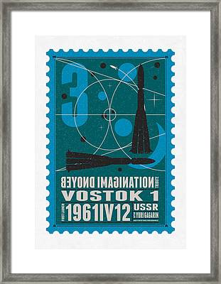 Starschips 03-poststamp - Vostok Framed Print by Chungkong Art
