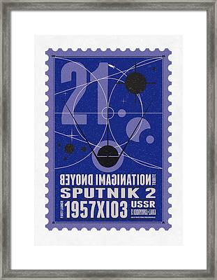 Starschips 21- Poststamp - Sputnik 2 Framed Print by Chungkong Art