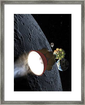 Starship Departing From Lunar Orbit Framed Print by Don Dixon