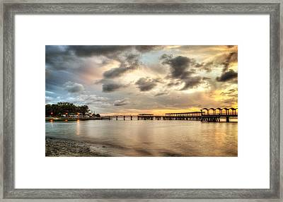 Starting A Night Of Fishing At Crab Creek Pier Framed Print