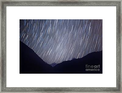 Startrail Himalaya Night Scape Framed Print by Raimond Klavins