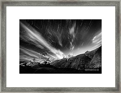 Startrails Over Badlands Framed Print by Charline Xia