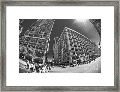 State And Randolph Street At Lunchtime Chicago Il Framed Print by Linda Matlow