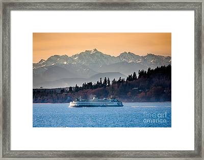 State Ferry And The Olympics Framed Print by Inge Johnsson
