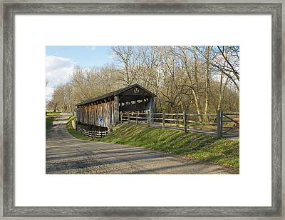 State Line Or Bebb Park Covered Bridge Framed Print by Jack R Perry