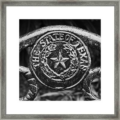 State Of Texas Seal And Lone Star On Iron Fence After Rain Square Format Black And White Framed Print