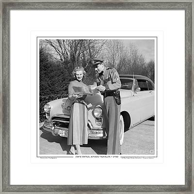 Framed Print featuring the photograph State Patrolman Assists Young Woman Traveler 1951 by Merle Junk