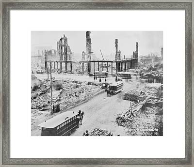 State Street After Chicago Fire Framed Print by Horsch Gallery