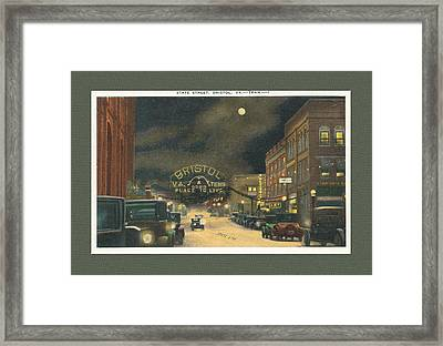 State Street Bristol Va Tn At Night Framed Print