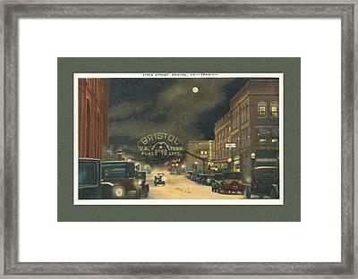 State Street Bristol Va Tn At Night Framed Print