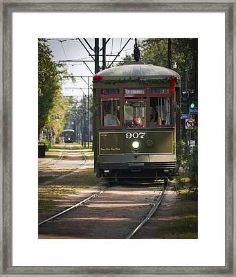 State Street Streetcar Framed Print by Ray Devlin
