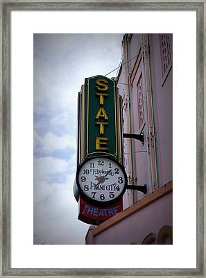 State Theatre Sign Framed Print by Laurie Perry
