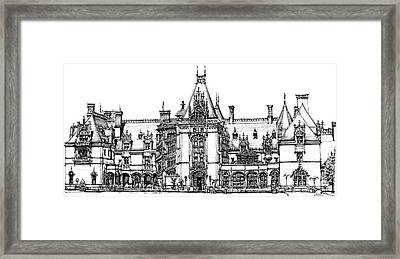 Stately Home In Ink Framed Print by Adendorff Design