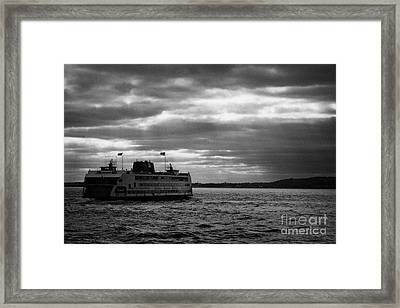 staten island ferry Andrew J Barberi heading towards staten island Framed Print by Joe Fox