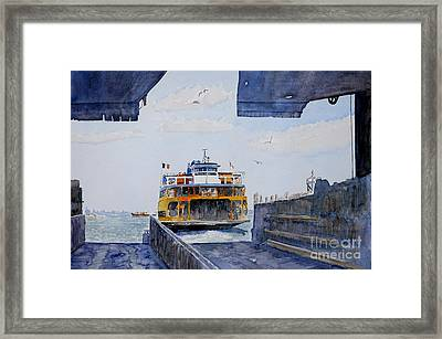 Staten Island Ferry Docking Framed Print by Anthony Butera