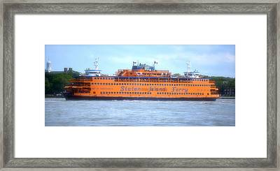 Staten Island Ferry In New York Harbor Framed Print by Michael Dagostino