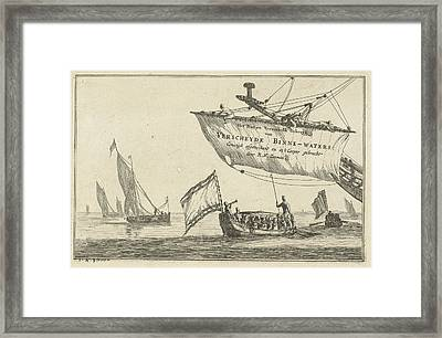 States Loupe And Sailing On Calm Water, Reinier Nooms Framed Print