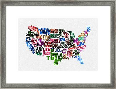 States Of United States Typographic Map Framed Print