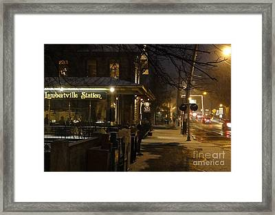 Station In Snow Framed Print