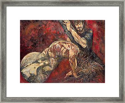 Station V Simon Of Cyrene Helps Jesus Carry His Cross Framed Print