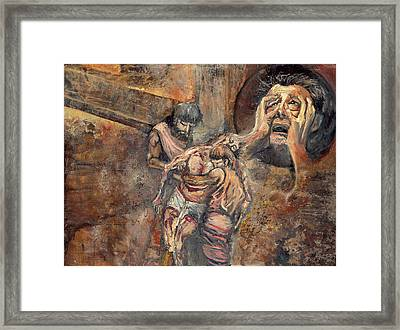 Station Xiii The Body Of Jesus Is Taken Down From The Cross Framed Print