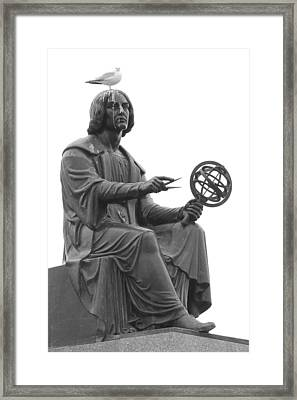 Statue And Pigeon Framed Print by Jim Hughes
