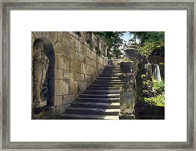 Statue And Stairs Framed Print by Terry Reynoldson