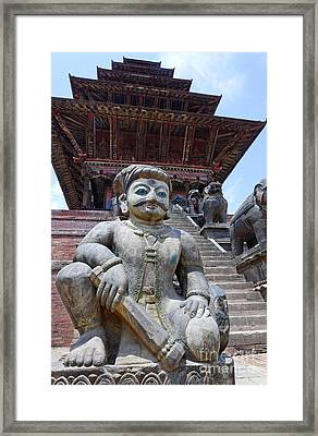 Statue At The Nyatapola Temple At Bhaktapur In Nepal Framed Print by Robert Preston