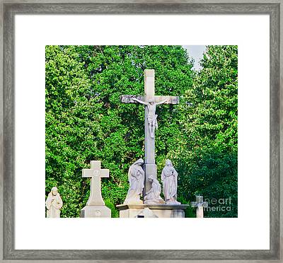 Statue - Crucifix And Crosses - Luther Fine Art Framed Print by Luther Fine Art