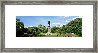 Statue In A Garden, Boston Public Framed Print by Panoramic Images