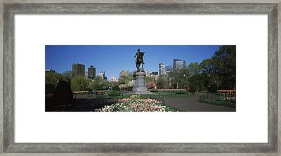 Statue In A Garden Paul Revere Statue Framed Print by Panoramic Images