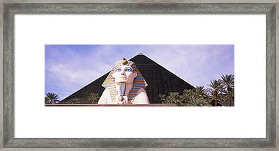 Statue In Front Of A Hotel, Luxor Las Framed Print