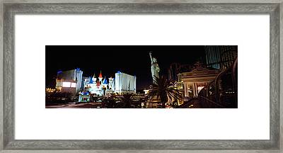 Statue In Front Of A Hotel, New York Framed Print