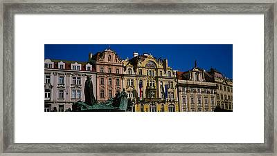 Statue In Front Of Buildings, Jan Hus Framed Print