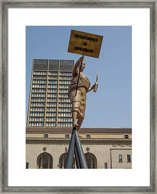 Statue In Front Of Johannesburg City Framed Print