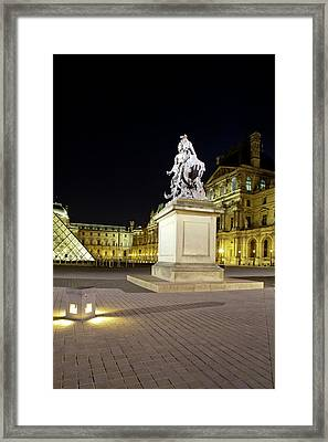 Statue In Front Of The Musee Du Louvre Framed Print