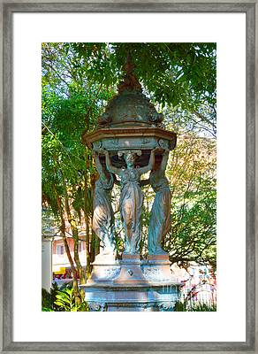 Statue In The Garden Framed Print by Alys Caviness-Gober