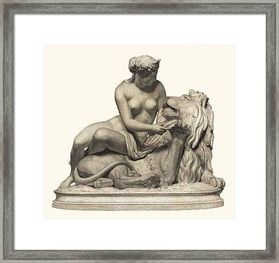 Statue Woman And Lion Framed Print by Private Collection