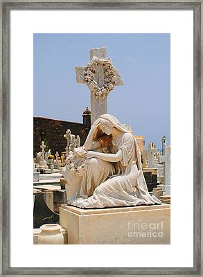 Statue Mourning Woman Framed Print